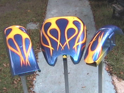 motorcycle custom painted flames