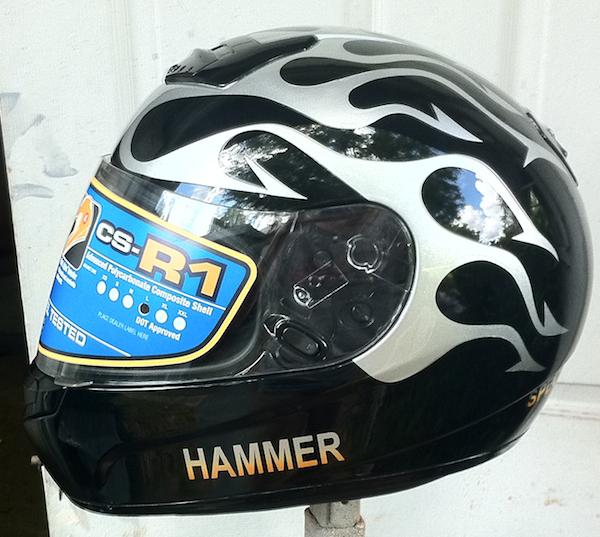 Motorcycle helmet designs Airbrush Gallery Part 2 : silver flames3 <strong>Blue</strong> Motorcycle from airbrushgallery.com size 600 x 537 jpeg 248kB