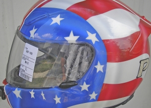 motorcycle helmet flag design