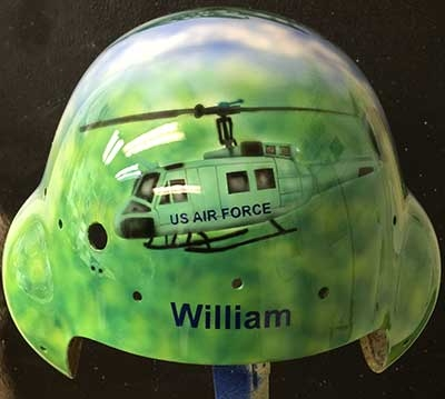 Flight helmet with Huey helicopter custom painted