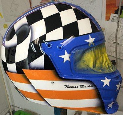 checker flag design helmet