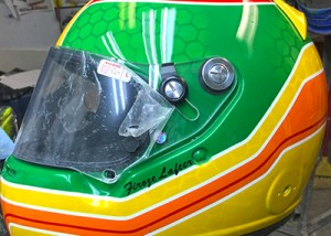Arai race helmet green design