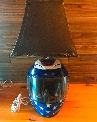 motorcycle helmet table top lamp