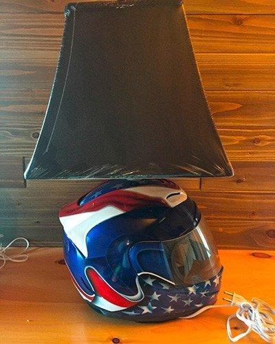 motorcycle helmet table top lamp painted