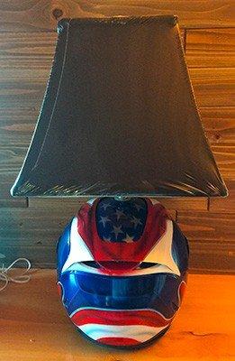 motorcycle helmet one of a kind table top lamp